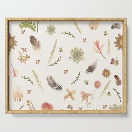 Feathers among Wildflowers Serving Tray