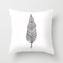 Aztec black and white feather Throw Pillow