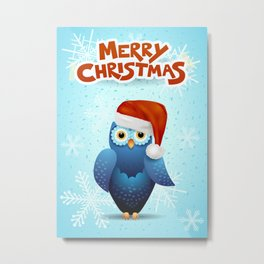 Merry Christmas with owl and Santa hat Metal Print