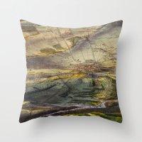 battlefield Throw Pillows featuring Vintage Map of The Gettysburg Battlefield (1863) by BravuraMedia