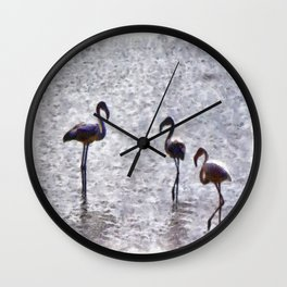 We Are The Three Flamingoes Watercolor Wall Clock
