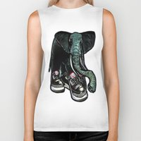 sneaker Biker Tanks featuring SNEAKER ELEPHANT by Juan Diaz
