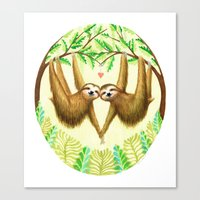 sloths Canvas Prints featuring Sloths in Love by Kirsten Sevig