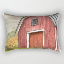 New England Red Barn Pencil Rectangular Pillow