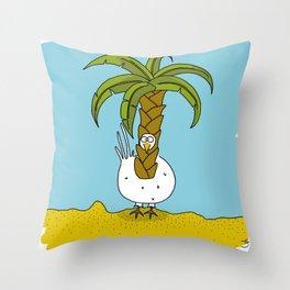 Eglantine la poule (the hen) dressed up as a palm Throw Pillow