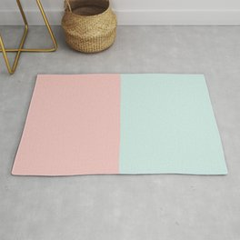 Pastel Pink & Turquoise Color Block Rug