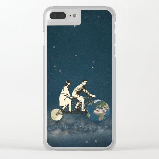 Love Makes The World Go Round Clear iPhone Case