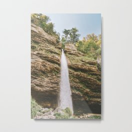 Fresh start of a summer day / dropping waterfall in Slovenia / warm travel photography print / blue and green fine art Metal Print
