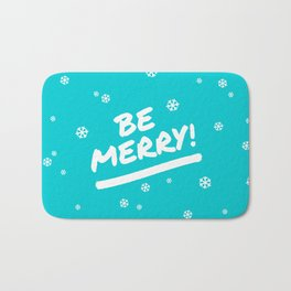 Bright Cyan Be Merry Christmas Snowflakes Bath Mat
