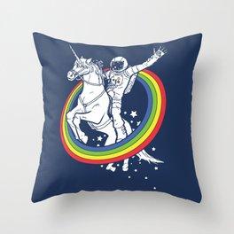 Astronaut riding a unicorn Throw Pillow