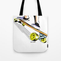 skate Tote Bags featuring skate by Cal ce tin