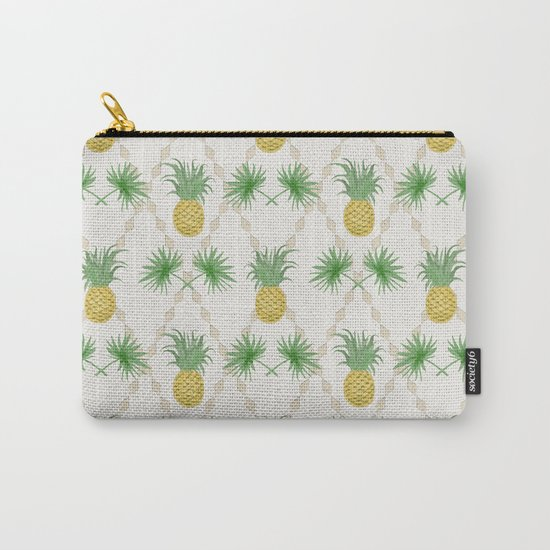 Exotic tropical seamless pattern with palm branches and pineapples . Carry-All Pouch