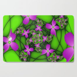 Fantasy Flowers Neon Colors, Floral Fractal Art Cutting Board