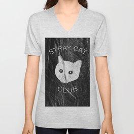 Stray Cat Club Black Background Unisex V-Neck