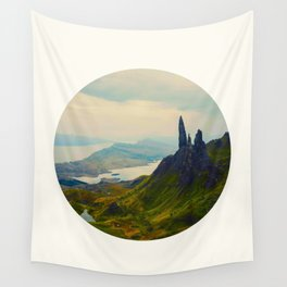 Mid Century Modern Round Circle Photo Magical Landscape Volcanic Mountains Rolling Green Hills Wall Tapestry