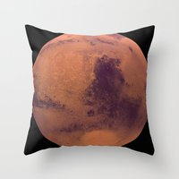 mars Throw Pillows featuring Mars by Tobias Bowman
