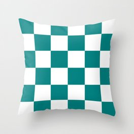 Large Checkered - White and Dark Cyan Throw Pillow