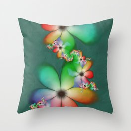 Rainbow Flowers Keeping Cool Against a Mint Wall Throw Pillow