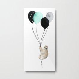 Sloth with Balloons Metal Print