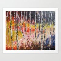 Evening in the Woods Pallet Knife Painting Art Print