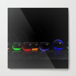 Rainbow Cherries - Black - Detail Metal Print