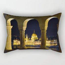 Hungarian Parliament through Fishermans bastion Rectangular Pillow