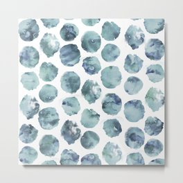 Pale Indigo Watercolor Dots Metal Print