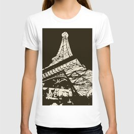 Eiffel Tower, Paris in black and white T-shirt