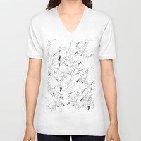 white marble V-neck T-shirts featuring Marble by Make-Ready