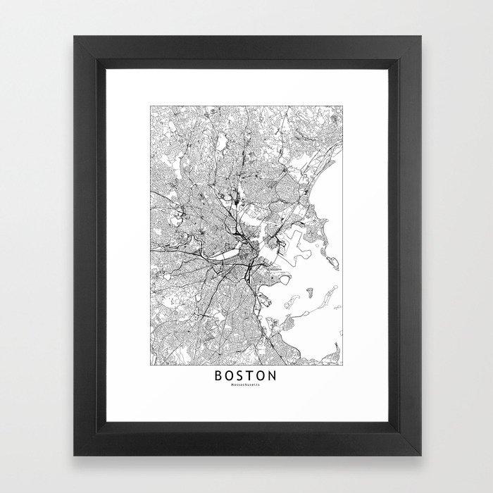 Boston White Map Framed Art Print