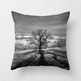 Lone tree over the East Somerset Railway Throw Pillow