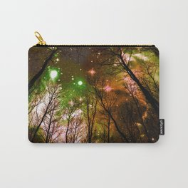 Black Trees Peach Brown Green Space Carry-All Pouch