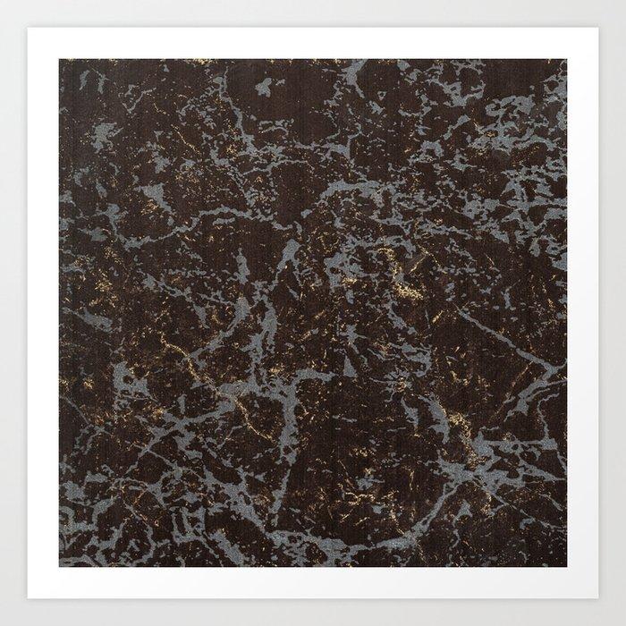 Crystallized gold stone texture Art Print