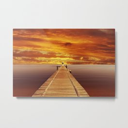 Solitude Sunset on the Lake Metal Print
