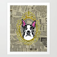 terrier Art Prints featuring Terrier by Shelby Fry Designs