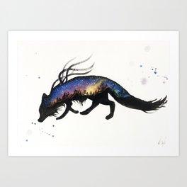 Aurora Australis Fox Art Print