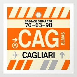 CAG Cagliari • Airport Code and Vintage Baggage Tag Design Art Print