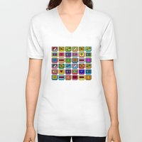 8 bit V-neck T-shirts featuring 8-bit Game Cartridges by Raven Jumpo