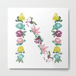 Floral N Monogram Metal Print
