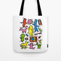 keith haring Tote Bags featuring Haring - Simpsons by Krikoui
