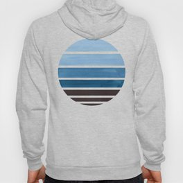 Blue Green Mid Century Modern Minimalist Circle Round Photo Staggered Sunset Geometric Stripe Design Hoody