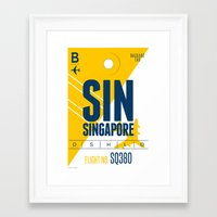 singapore Framed Art Prints featuring Singapore Tag by Studio Tesouro