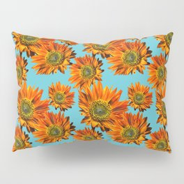 Orange Sunflower Pattern Pillow Sham