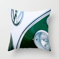 vw bus Throw Pillows featuring bus by LOPP