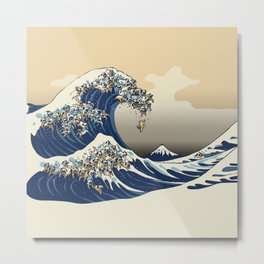 The Great Wave of Pugs Vanilla Sky Metal Print
