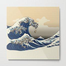 The Great Wave of Pugs Vanilla Sky Metal Print