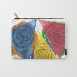 Complimentary Color Rose Trio With Geometric Triangles Carry-All Pouch