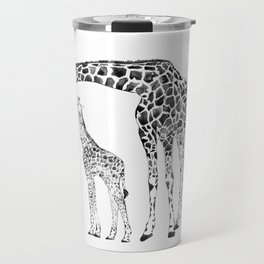 Giraffes, black and white Travel Mug