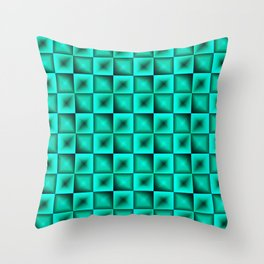 Fashionable large glare from small light blue intersecting squares in gradient dark cage. Throw Pillow