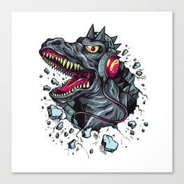 Dino with Headphones Grey Ebony Clay Canvas Print